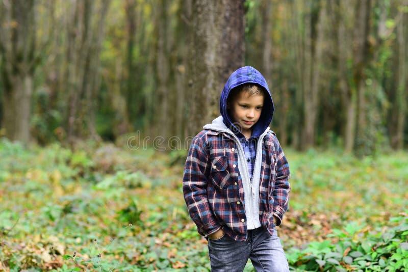 Mody chłopiec Małe dziecko w jesień lasowym dzieciaku z jego swój styl Jesieni moda wykazuje tendencję dla małych dzieci Przypadk zdjęcia royalty free