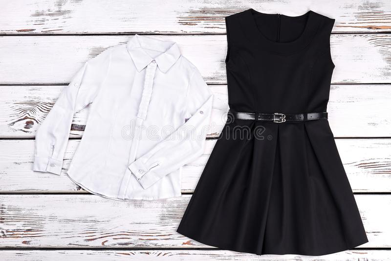 Mody czarna retro suknia, bluzka obrazy royalty free