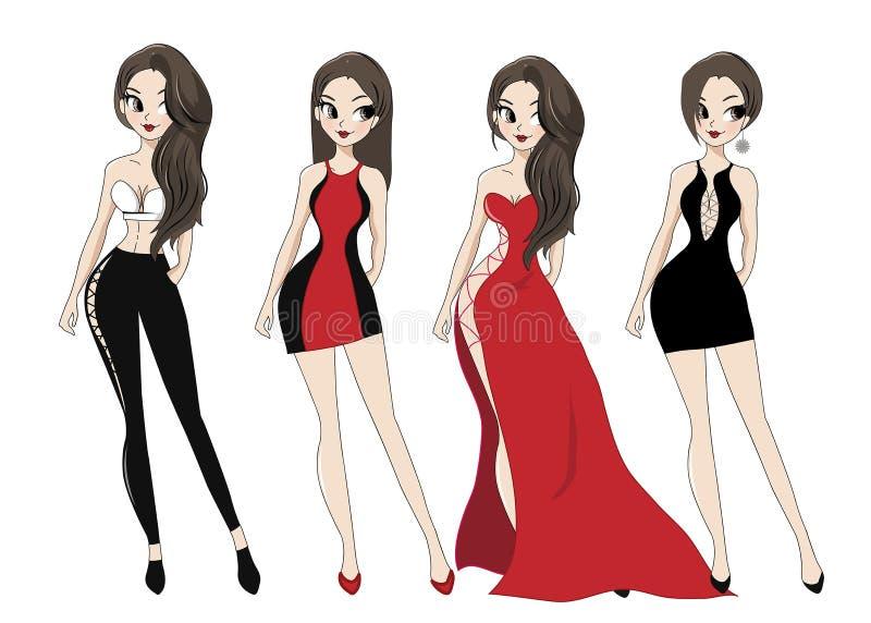 Mody damy sukni nocy przyjęcie ilustracja wektor