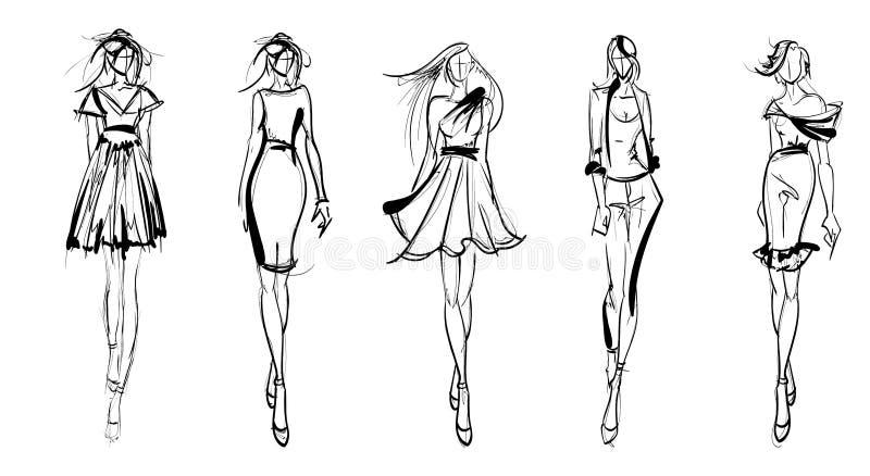 mody dziewczyn nakreślenie ilustracja wektor