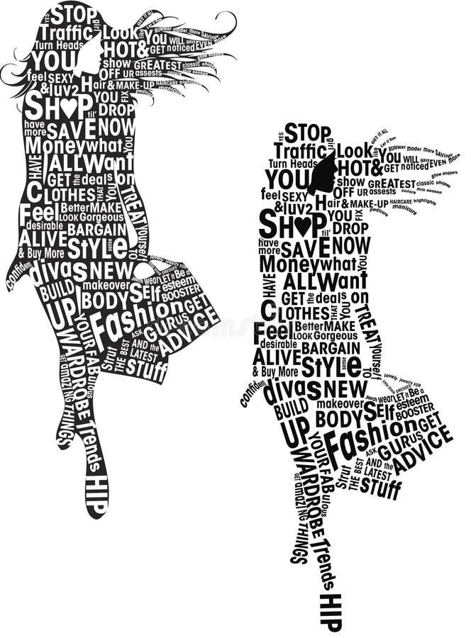 mody dziewczyn typografia royalty ilustracja
