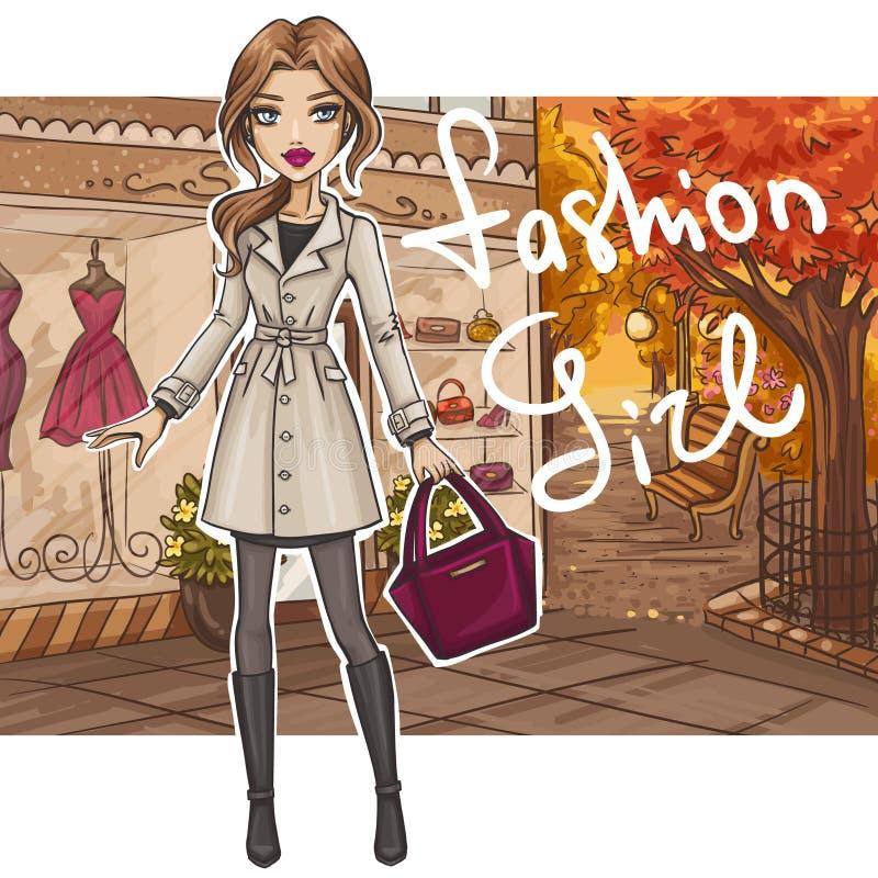 Mody dziewczyna w eleganckim stroju royalty ilustracja