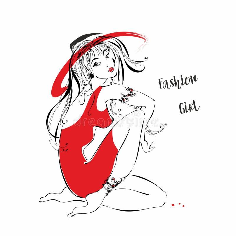 Mody dziewczyna w kapeluszu Dziewczyna w czerwieni sukni wektorze ilustracja wektor
