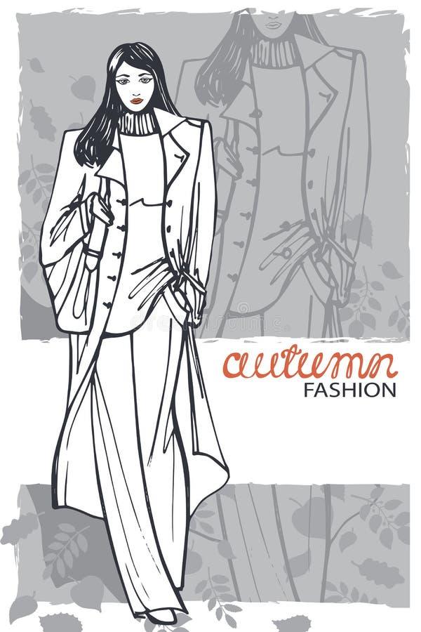 Mody dziewczyna w nakreślenie stylu również zwrócić corel ilustracji wektora grafit royalty ilustracja