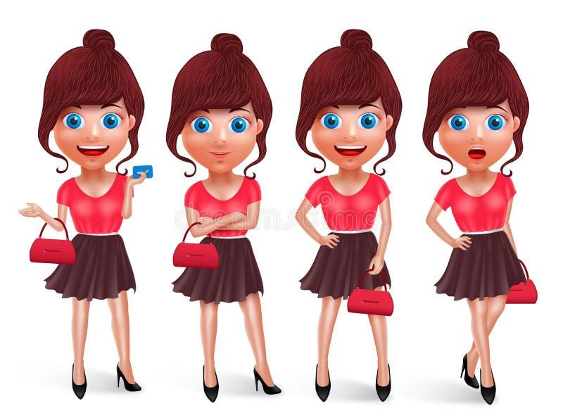 Mody dziewczyny charakterów wektoru set Nastoletni kobieta zakupy modeluje mienie torbę ilustracji