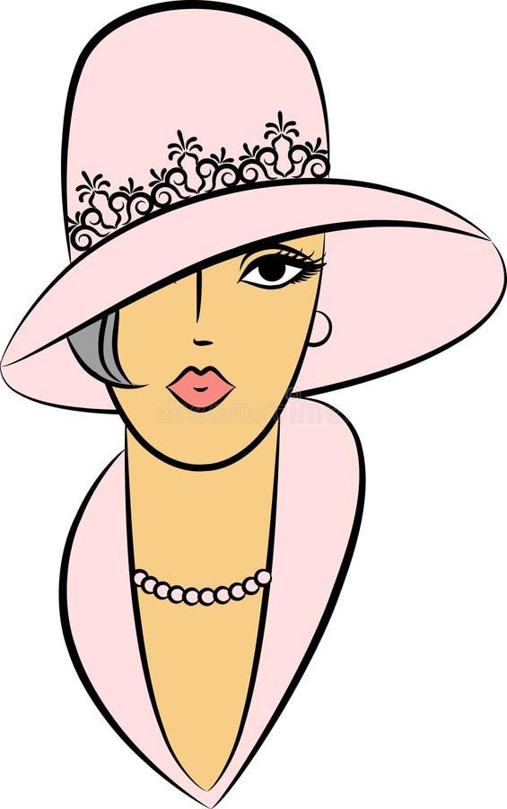 mody dziewczyny kapeluszu rocznik ilustracji