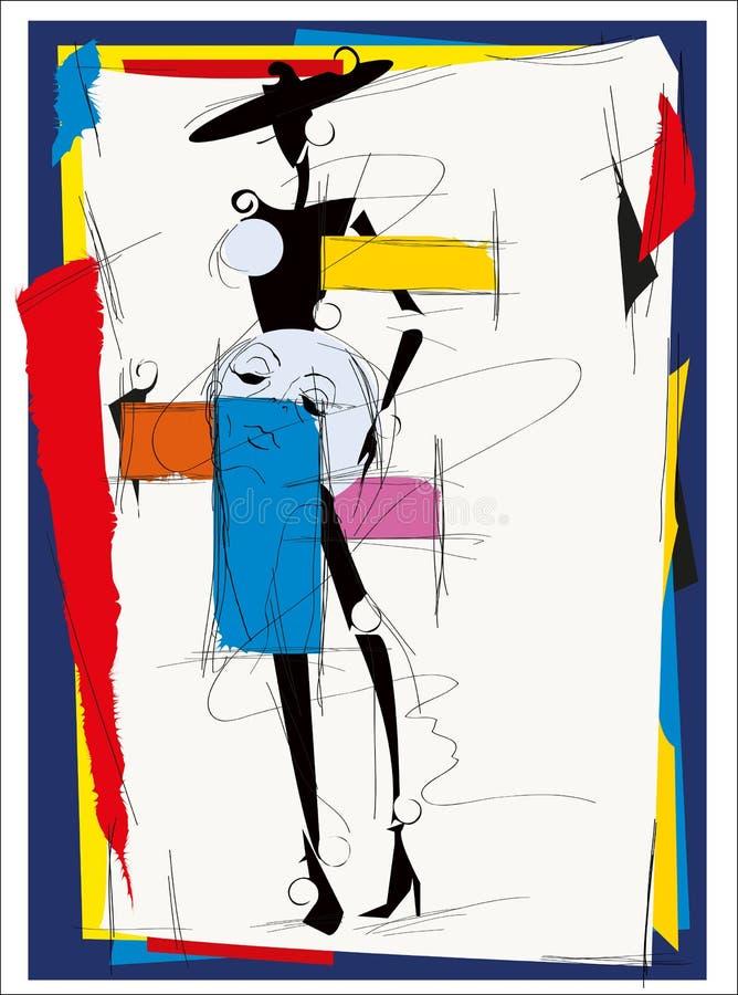 Mody dziewczyny kubizm ilustracji