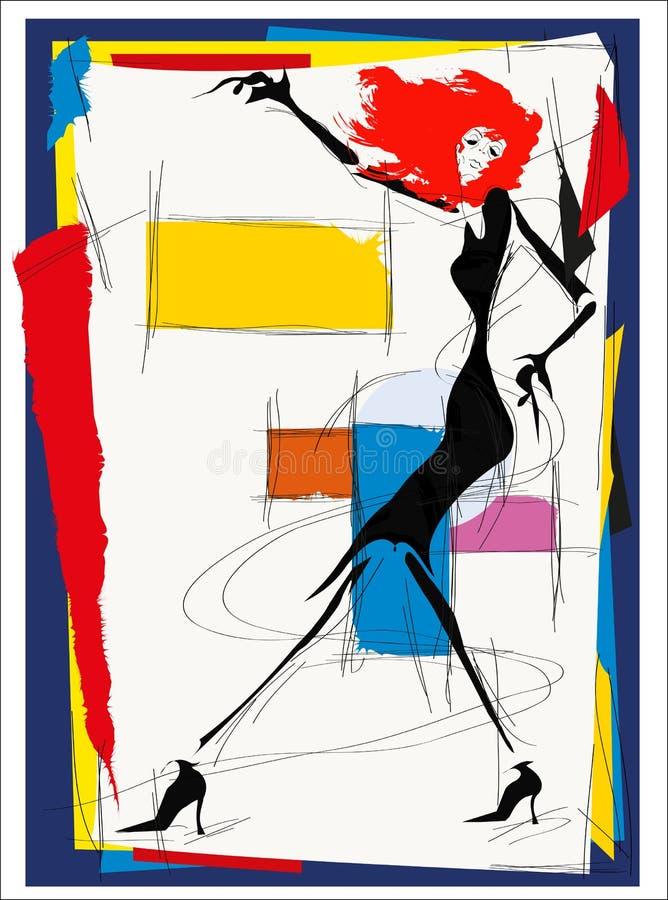 Mody dziewczyny kubizm ilustracja wektor