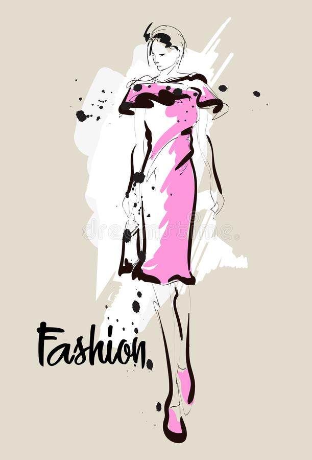 Mody dziewczyny nakreślenie Mody ilustracja Rysunkowy moda model ilustracja wektor