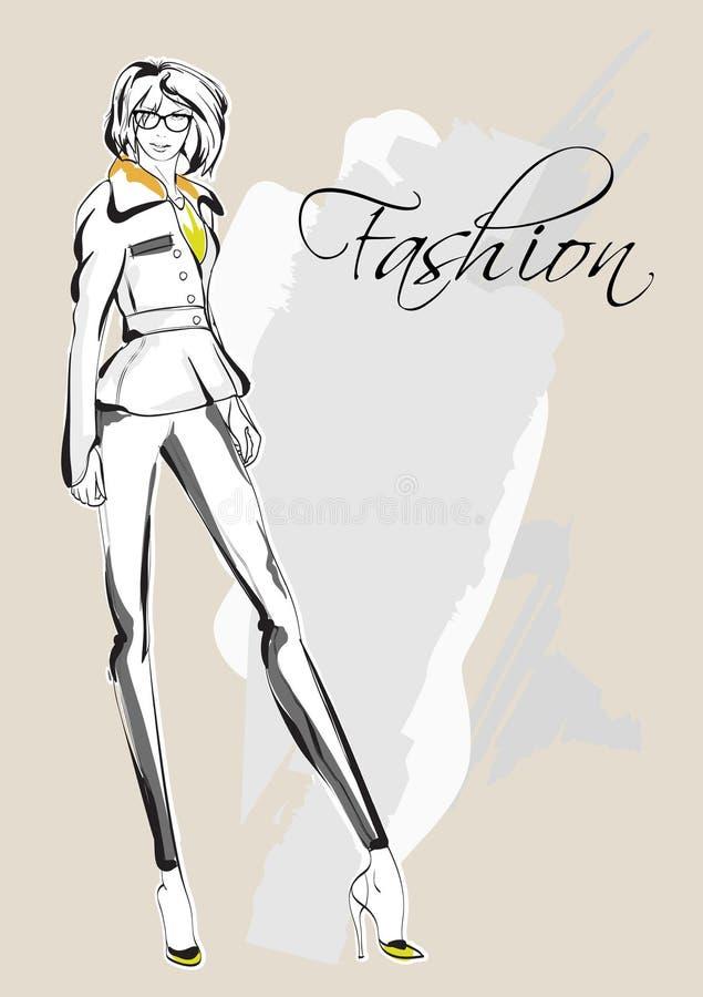 Mody dziewczyny nakreślenie Rysunkowy moda model royalty ilustracja