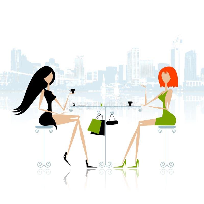 Mody dziewczyny w kawiarni na ulicie ilustracja wektor