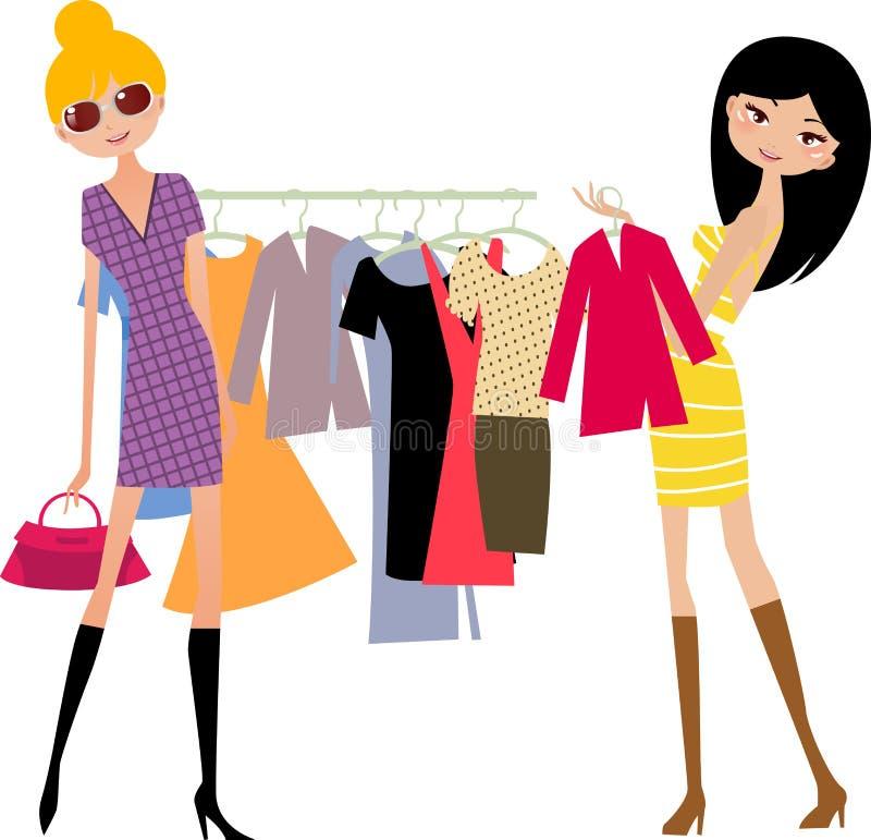 mody dziewczyny zakupy royalty ilustracja
