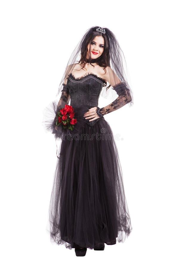 Mody gothic panna młoda odizolowywająca na białym tle obraz stock