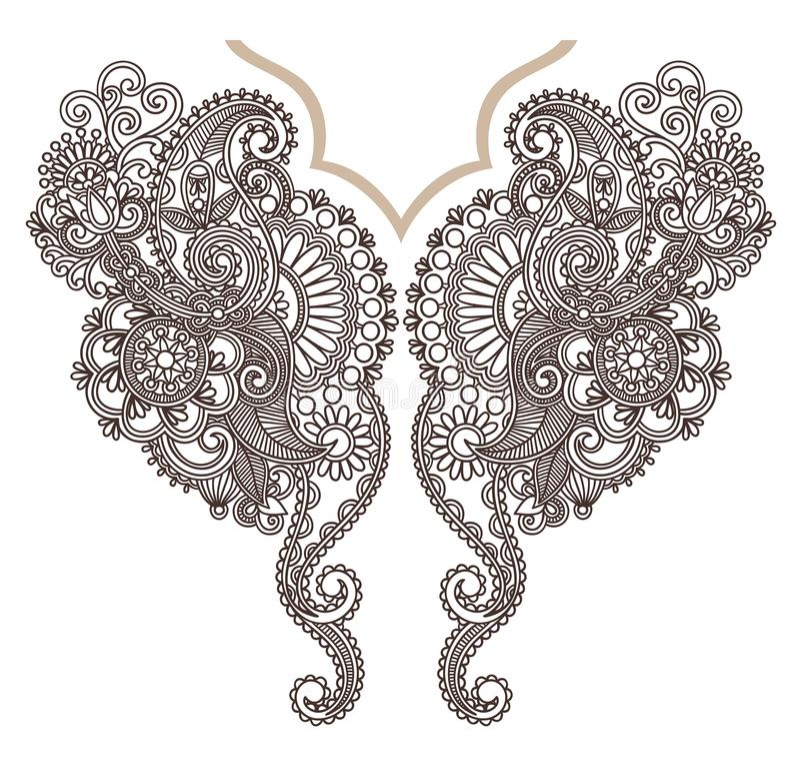 mody hafciarski neckline royalty ilustracja