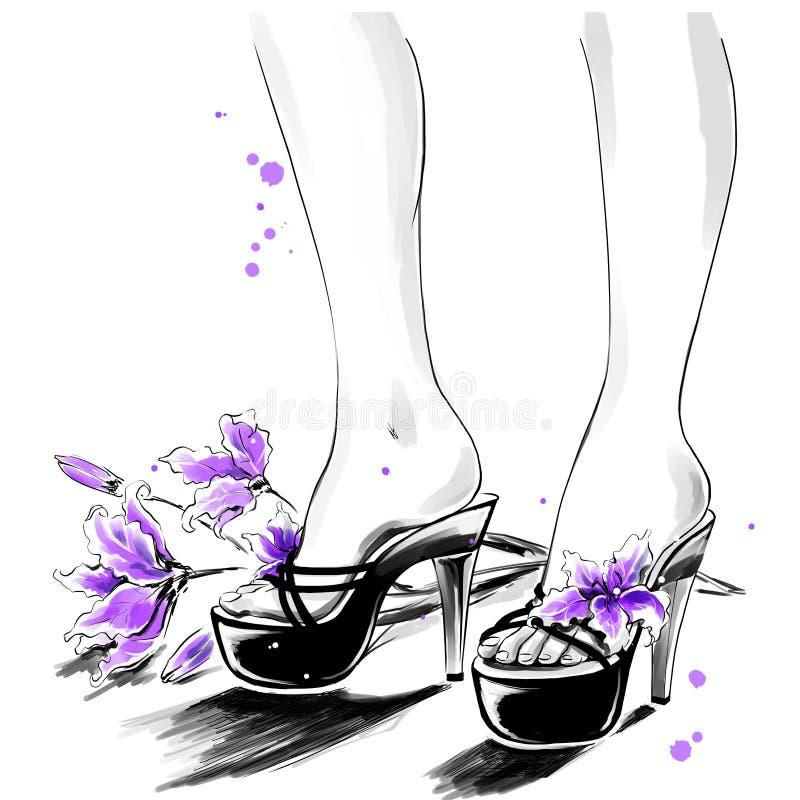 Mody ilustracja dla obuwianego sklepu Nogi dziewczyna royalty ilustracja