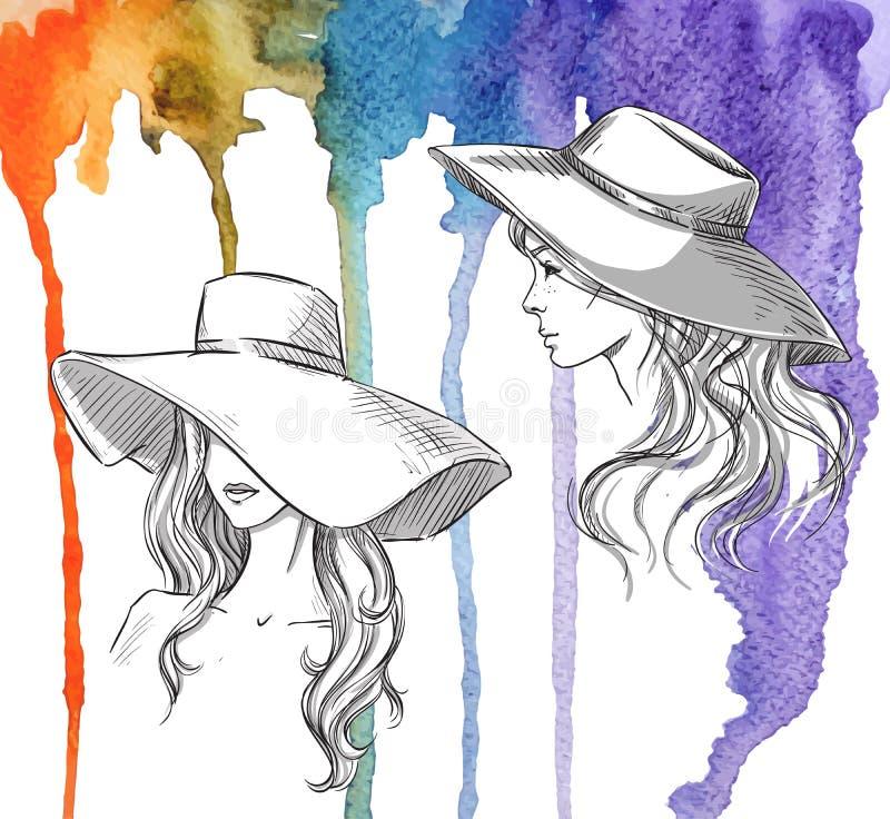 Mody ilustracja Dziewczyny w kapeluszach na akwareli tle royalty ilustracja
