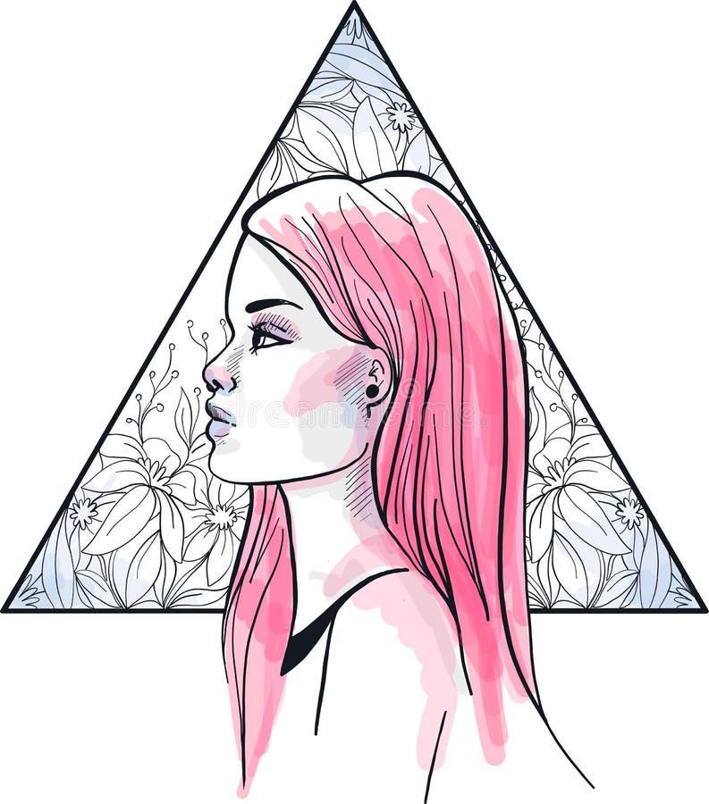 Mody ilustracja Głowa młoda dziewczyna z różowy długie włosy, na trójboka kwiecistym tle ilustracji