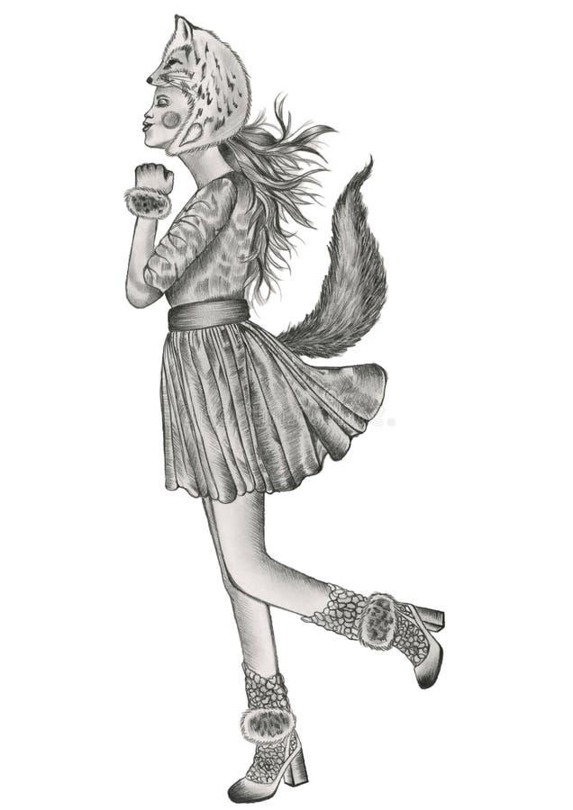 mody ilustracja kobiety pozycja na jeden stopie w całowanie pozie jest ubranym lisa kostium ilustracja wektor