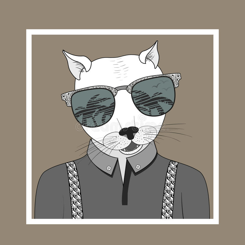Mody ilustracja ubierający up kot ilustracji
