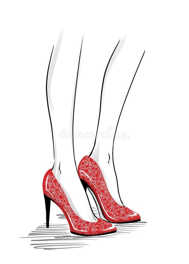 Mody ilustracja z kobietą iść na piechotę będący ubranym szpilki buty royalty ilustracja