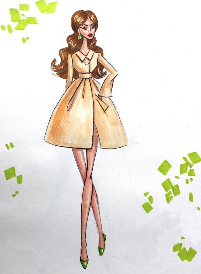 Mody ilustracyjna kobieta w żakiecie ilustracja wektor