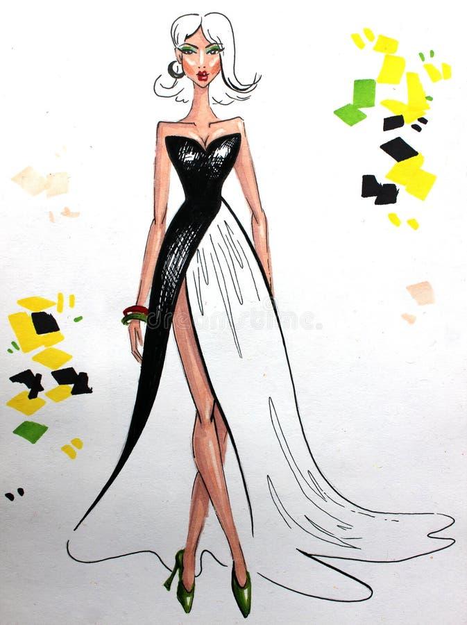 Mody ilustracyjna kobieta w długiej sukni royalty ilustracja