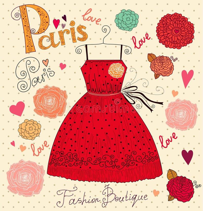 Mody karta z suknią ilustracji