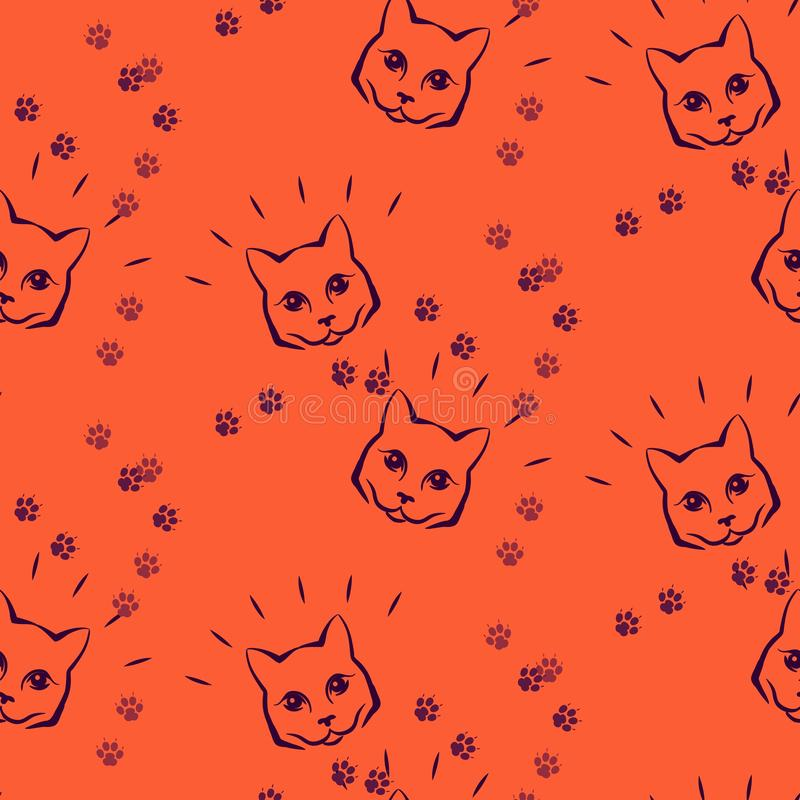 Mody kawaii kiciunia również zwrócić corel ilustracji wektora Bezszwowy wzór z ślicznym fase koty i łęki royalty ilustracja