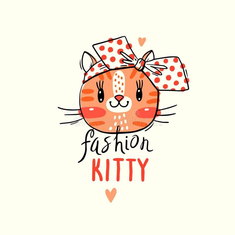 Mody kawaii kiciunia Wektorowa ilustracja kot twarz z łękiem Może używać dla koszulka druku, dzieciaki jest ubranym projekt royalty ilustracja