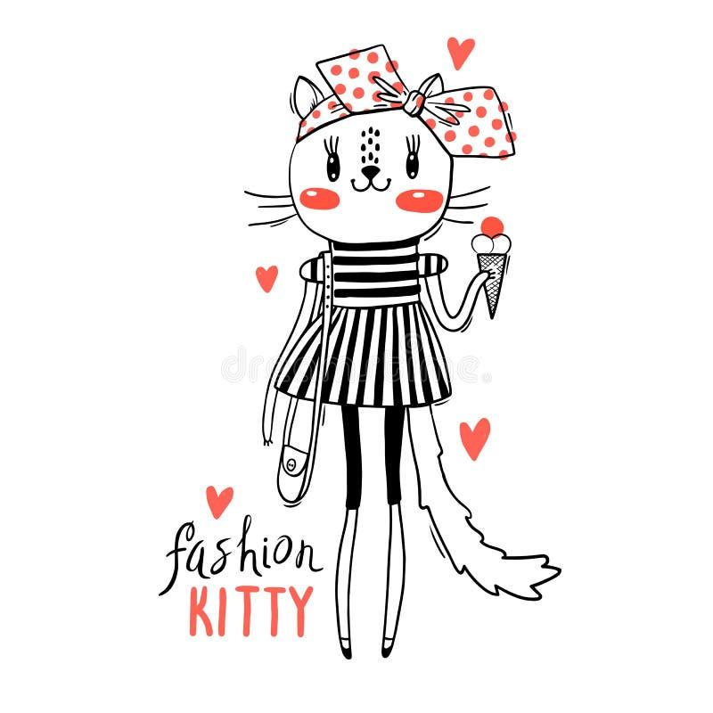 Mody kawaii kiciunia Wektorowa ilustracja kot w modnych ubraniach Mo?e U?ywa? dla koszulka druku, dzieciaki Jest ubranym royalty ilustracja