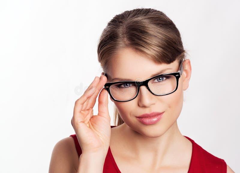 Mody kobieta w eyeglasses zdjęcie royalty free