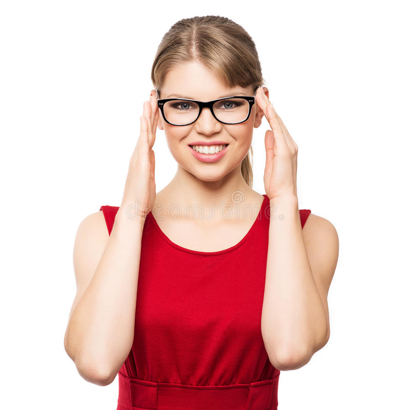 Mody kobieta w eyeglasses obrazy stock