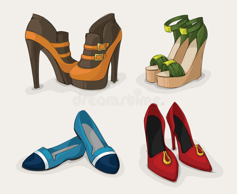 Mody kobiety buty inkasowi royalty ilustracja