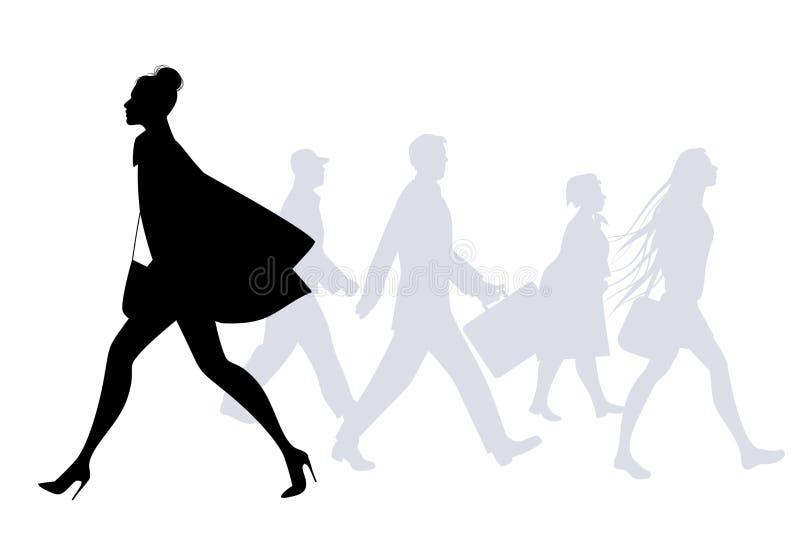 Mody kobiety odprowadzenie w ulicie Ludzie sylwetek chodzić ilustracja wektor