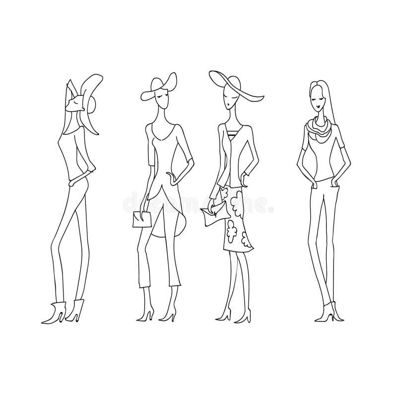 4 mody kobiety patroszony mody ręki model Lata inkasowy nakreślenie royalty ilustracja
