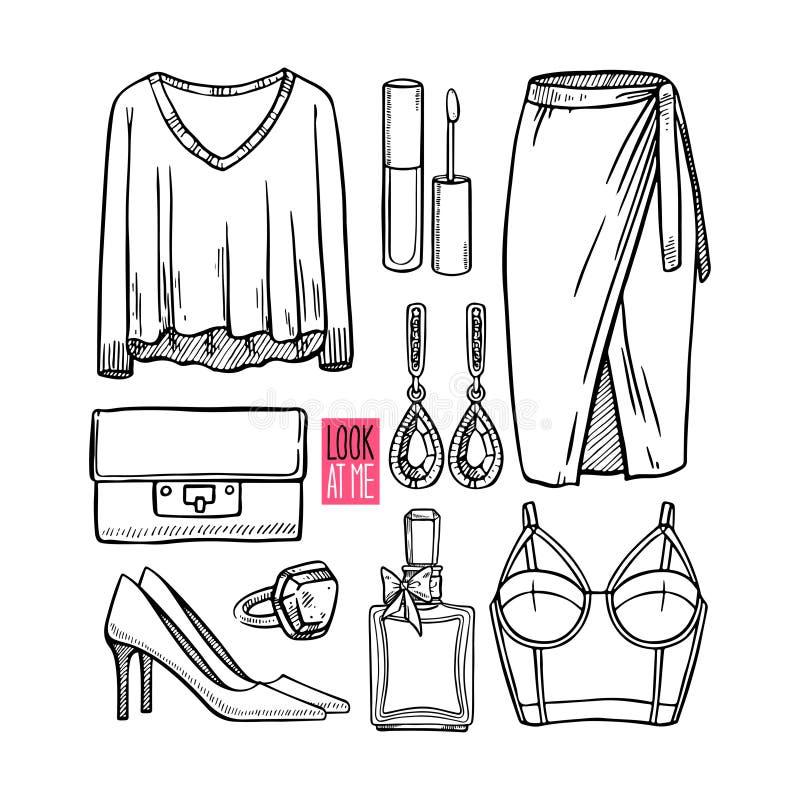 Mody kolekcja dziewczyny nakreślenia odzież ilustracja wektor