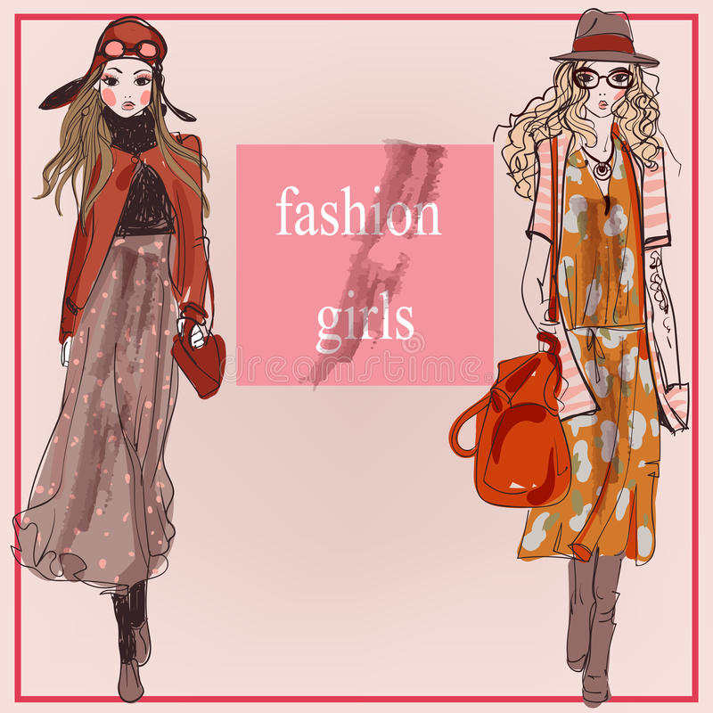 Mody kreskówki modela dziewczyny royalty ilustracja