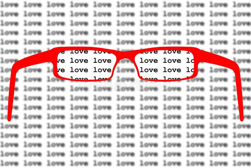 Mody miłości szkła w czerwonej klingeryt ramy kierowym kształcie royalty ilustracja