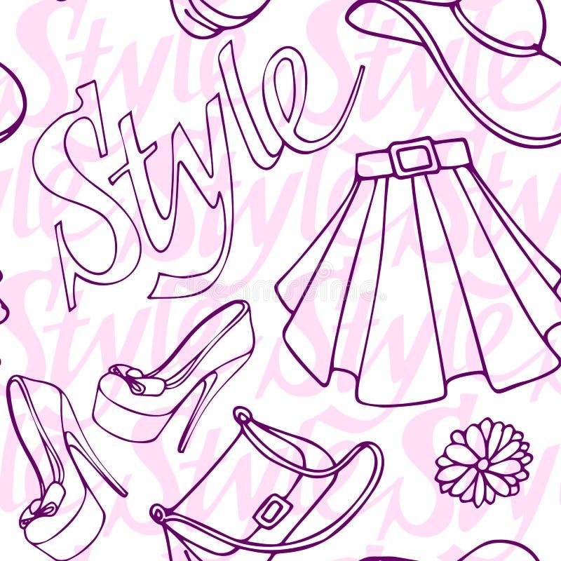 Mody mody rocznika doodle odzieżowa i akcesoryjna bezszwowa deseniowa ręka rysująca wektorowa ilustracja royalty ilustracja