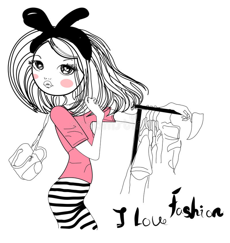 Mody nakreślenia dziewczyna ilustracja wektor
