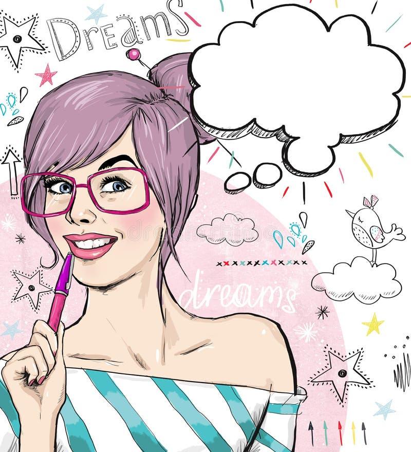 Mody nakreślenia ilustracyjna dziewczyna z piórem w ręce z mowa bąblem dziewczyny zamkniętej strzału ucznia, młodość Młody uczeń  royalty ilustracja