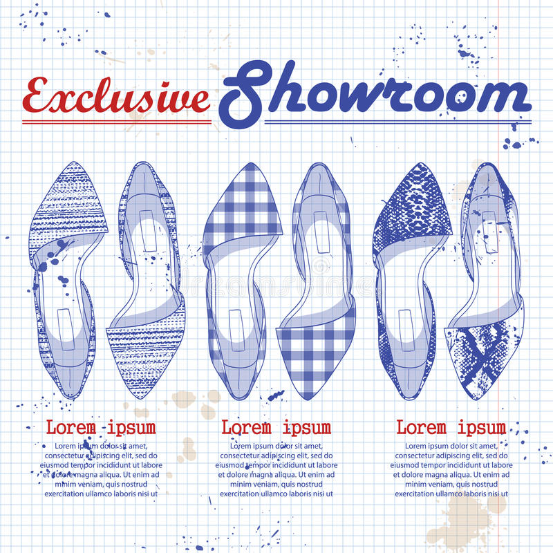 Mody nakreślenia kobiet wektorowi buty ilustracja wektor