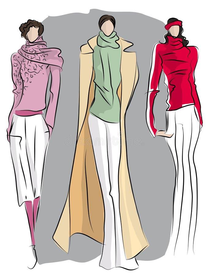mody nakreślenia kostiumy ilustracji