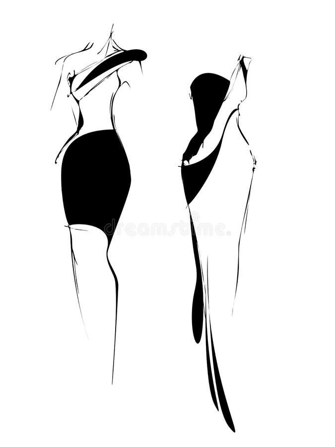 Mody nakreślenie freehand czarny i biały ilustracji