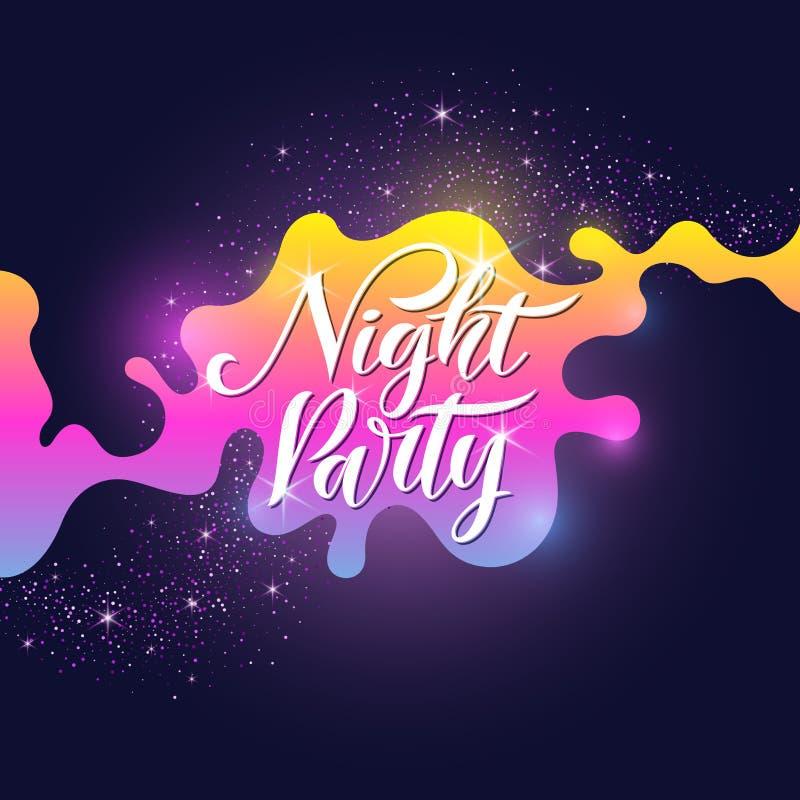 Mody nocy plakatowy przyjęcie w abstrakta stylu Wektorowy tło Ilustracyjne gwiazdy w przestrzeni i wszechświat ilustracja wektor
