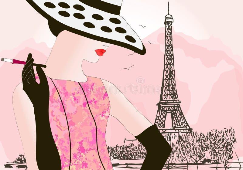 mody Paris kobieta royalty ilustracja