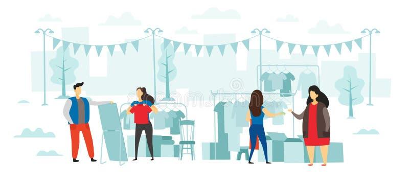 Mody pchli targ Ludzie kupują odzieżowego i sprzedają, na wolnym powietrzu uliczny przyjęcie i jarmark odziewa płaską wektorową i royalty ilustracja