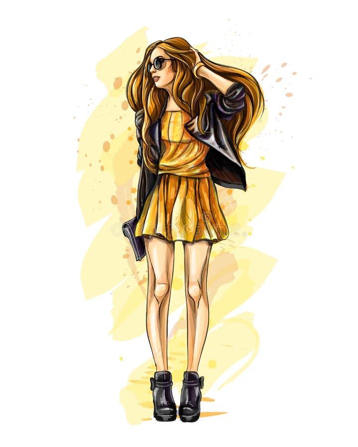 mody piękna kobieta royalty ilustracja