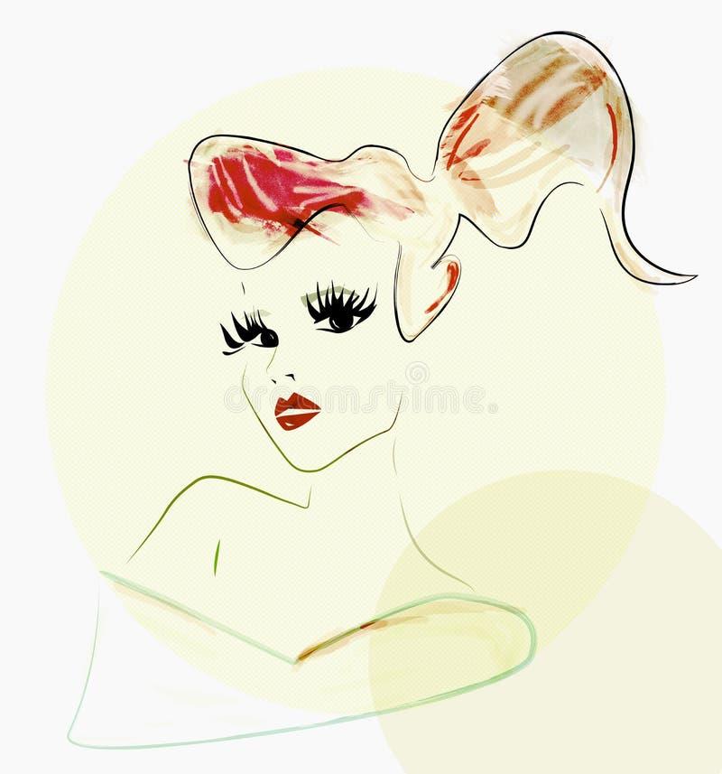 Mody piękna kobieta z kreatywnie sztuką uzupełniał ilustracja wektor