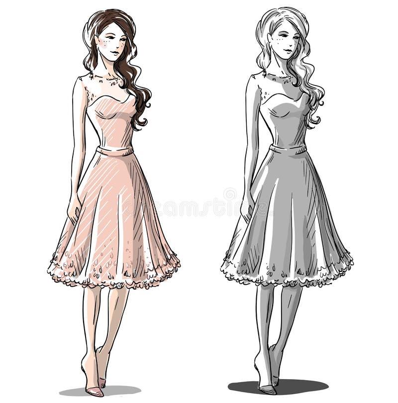 Mody ręka rysująca ilustracja pięknie ubraną ubrał jej wysokiej balu nastolatek do szkoły ilustracja wektor